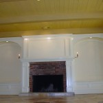 custom fireplace mantel project with two benches